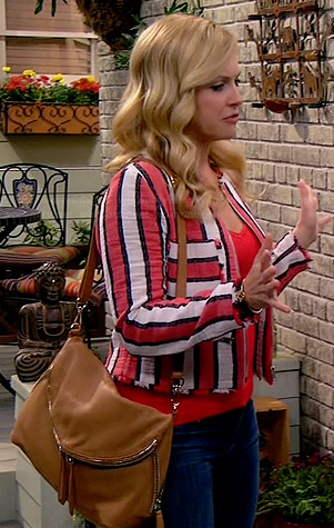 Melissa's red and white striped jacket on Melissa and Joey