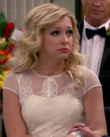 Melissa's feather embroidered wedding dress on Melissa and Joey