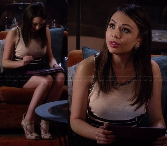 Mona's beige embellished top on Pretty Little Liars