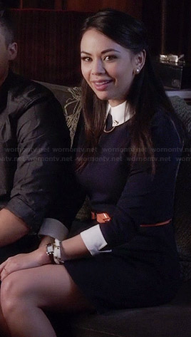 Mona's navy blue collared dress on Pretty Little Liars