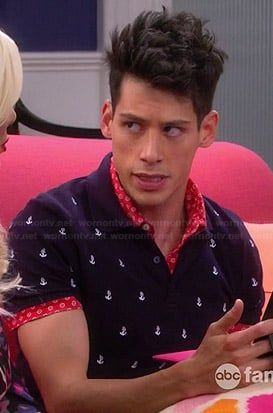 Nick's anchor print polo tee on Mystery Girls