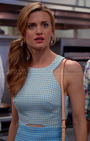 Paige's blue two tone cutout dress on Royal Pains