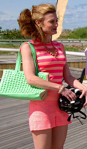 Paige's pink and beige striped sleeveless top and green studded bag on Royal Pains