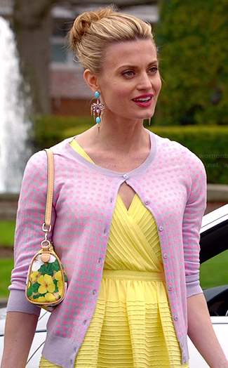 Paige's yellow ribbed wrap dress and pink checked cardigan on Royal Pains