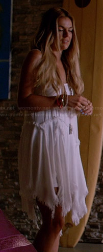 Paige's white frayed handkerchief dress on Graceland