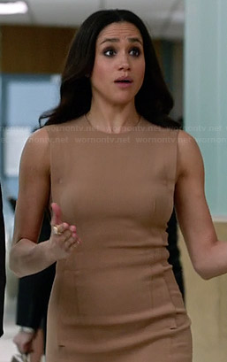 Rachel's nude sleeveless dress on Suits