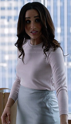 Rachel's white lace back sweater on Suits