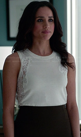 Rachel's white top with lace sides on Suits
