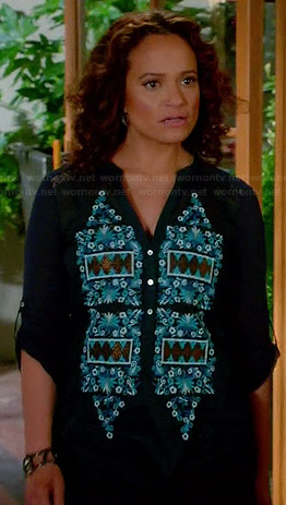 Zoila's blue embroidered top on Devious Maids