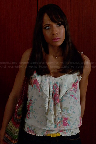 Rosie's white floral printed ruffled top on Devious Maids