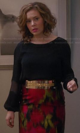 Savi's black blouse and red ikat print skirt on Mistresses