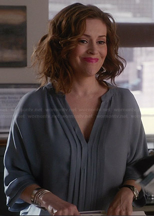 Savi's blue-grey pleated front blouse on Mistresses