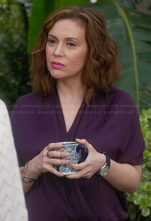 Savi's purple wrap blouse on Mistresses