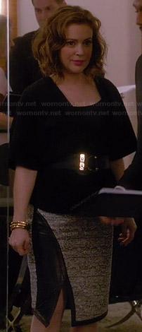 Wornontv Savi S Asymmetric Tweed Skirt With Leather Trim