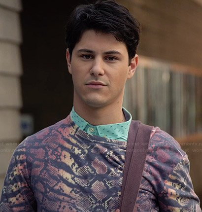 Shane's ombre snake print sweater on Faking It