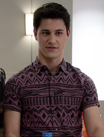Shane's purple aztec printed shirt on Faking It