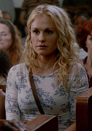 Sookie's white and blue printed top on True Blood