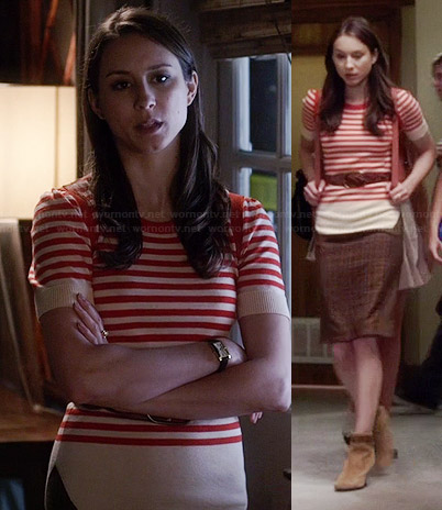 Spencer's red and beige striped top and checked skirt on Pretty Little Liars