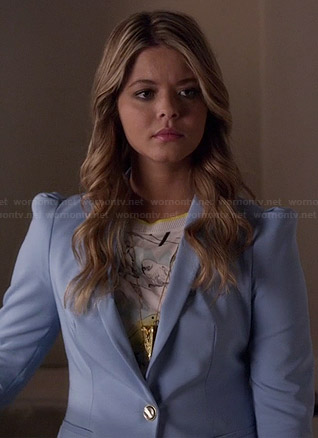 Ali's bird print top and blue blazer on Pretty Little Liars