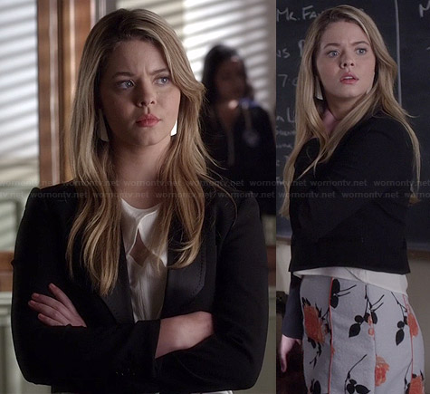 Ali's grey and orange floral skirt and white crossover front top on Pretty Little Liars