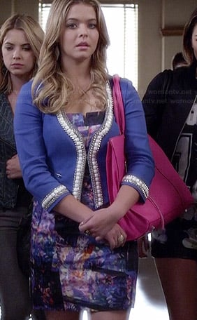 Ali's abstract patterned dress, blue bead trimmed jacket and pink bag on Pretty Little Liars