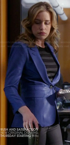 Annie's blue satin look blazer on Covert Affairs