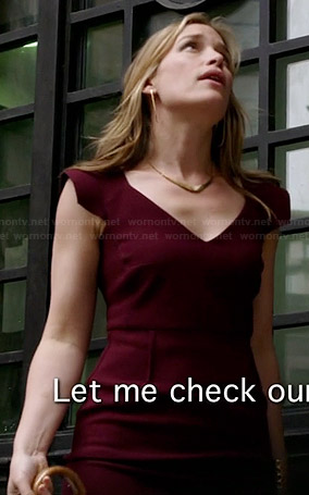 Annie's burgundy v-neck cap sleeve dress on Covert Affairs