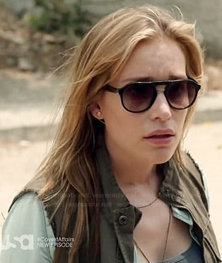 Annie's green cargo vest and sunglasses on Covert Affairs