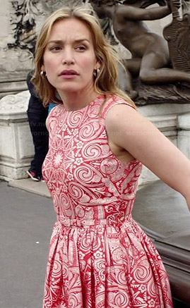 Annie's red and white patterned dress on Covert Affairs