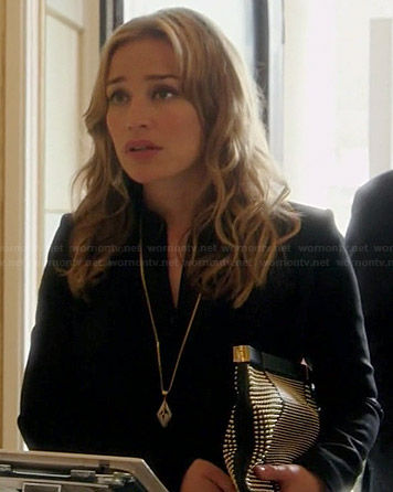 Annie's black studded clutch and long pendant necklace on Covert Affairs