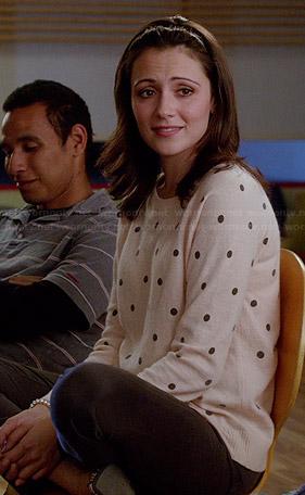 April's cream polka dot sweater on Chasing Life