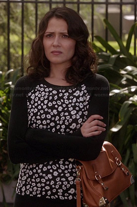April's black and white leopard sweater on Chasing Life