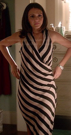 April's black and white striped wrap dress on Chasing Life