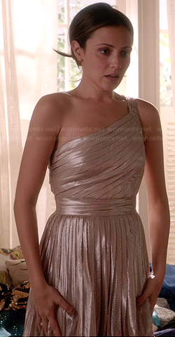 April's metallic pleated one-shoulder dress on Chasing Life