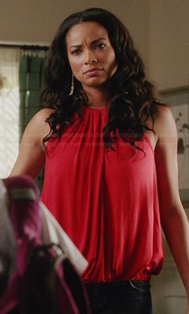April's red halter top on Mistresses