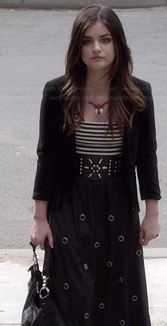 Aria's black fringed cardigan, grommett detailed maxi skirt and ripped handbag on Pretty Little Liars
