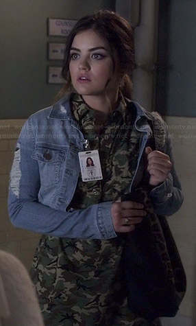 Aria's camo shirtdress and ripped denim jacket on Pretty Little Liars