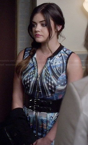 Aria's abstract patterned zip-front dress on Pretty Little Liars