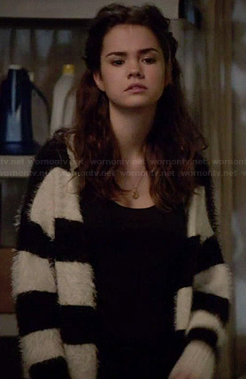 Callie's black and white striped fluffy cardigan on The Fosters