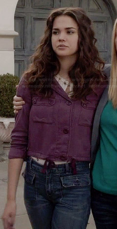 Callie's purple cropped jacket and flared jeans on The Fosters