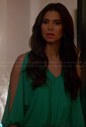 Carmen's green split sleeve blouse on Devious Maids