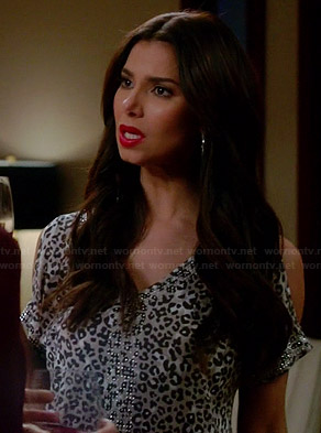 Carmen's leopard print cold shoulder top with rhinestones on Devious Maids