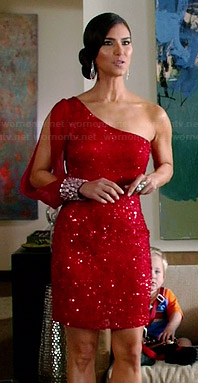 Carmen's red sequinned one-shoulder dress on Devious Maids
