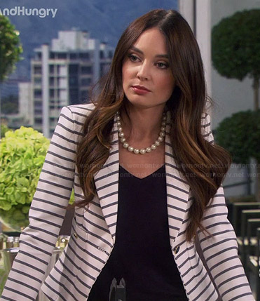 Caroline's white striped blazer on Young and Hungry
