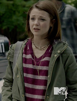 Carter's purple striped sweater with lace sleeves and green hooded jacket on Finding Carter