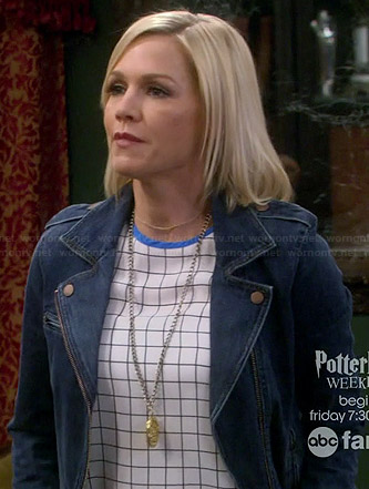 Charlie's checked print top and denim moto jacket on Mystery Girls