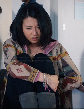 Christine's tribal patterned cardigan on The Leftovers