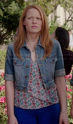 Daphne's ikat printed top and cropped denim jacket on Switched at Birth