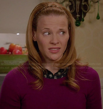 Daphne's navy elephant print shirt and purple sweater on Switched at Birth