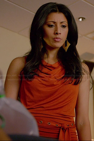 Divya's orange draped front belted dress on Royal Pains
